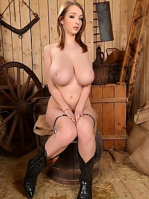 Lucie Wilde cowboy girl gets nasty in barn